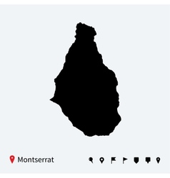 High detailed map of Montserrat with navigation vector