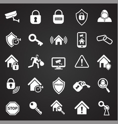 home security set on black background vector image