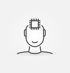 human face with computer chip linear vector image