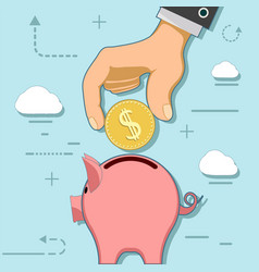 human hand with coin and piggy bank vector image