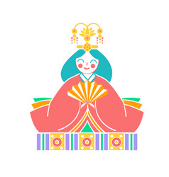 Icons japanese empress dolls vector