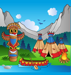 Indian village with totem and canoe vector