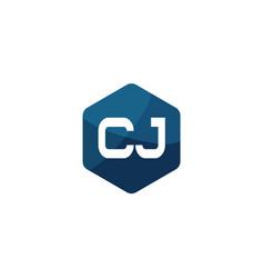 initial letter cj logo template design vector image