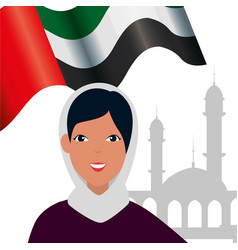 Islamic woman with traditional burka and arab flag vector