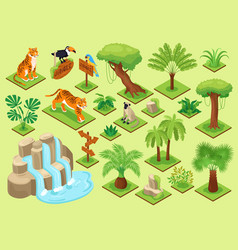 jungle plants animals set vector image