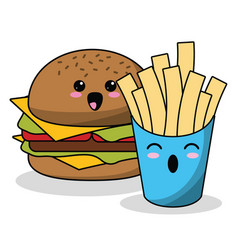Kawaii burger french fries image vector
