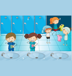 Kids brushing teeth and getting dress in locker vector