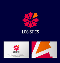 logistic logo directional arrows center business c vector image