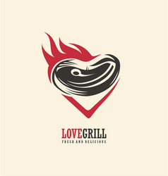 Love grill logo design vector