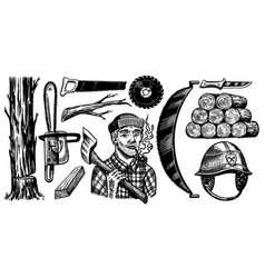 lumberjack with axe woodsman character and work vector image