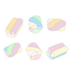Marshmallow set of different cartoon varicolored vector