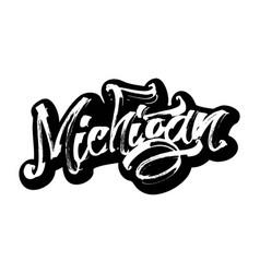 Michigan sticker modern calligraphy hand vector