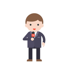 news reporter cute character professional set vector image