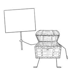 open empty treasure pirate chest cartoon vector image