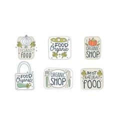 organic food labels set eco healthy natural food vector image