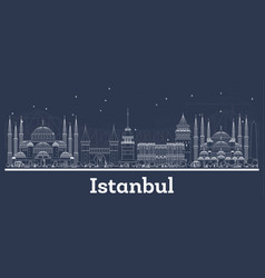 Outline istanbul turkey city skyline with white vector