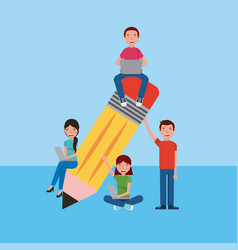People learning education related vector