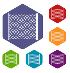 perforated gate icons set hexagon vector image