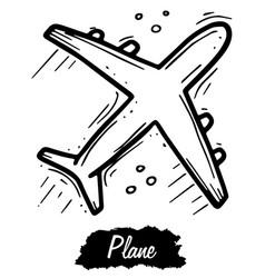 Plane isolated on white background vintage black vector