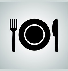 Plate spoon fork cutlery icon vector