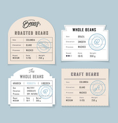 Retro vintage coffee beans label set vector