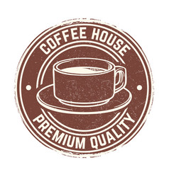 round banner with coffee cup with grunge effect vector image