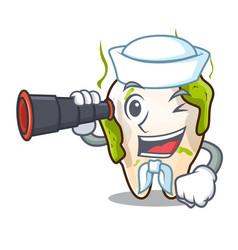Sailor with binocular cartoon decayed tooth before vector