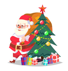 santa claus and christmas tree isolated vector image