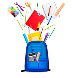 school backpack realistic composition vector image