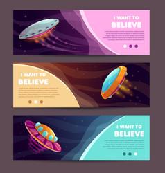 set horizontal long banners with cartoon alien vector image