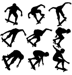 Set ilhouettes a skateboarder performs jumping vector