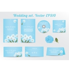 Set of floral wedding invitation template with vector image