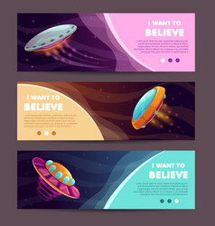 Set of horizontal long banners with cartoon alien vector