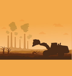 Silhouette of bad environment with clean forest vector