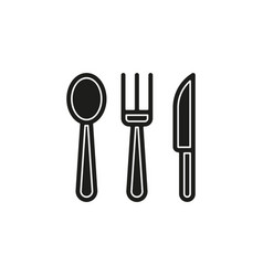 simple knife fork and spoon icon vector image