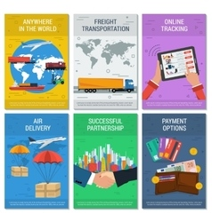 Six vertical logistics and delivery banners vector