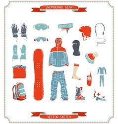 Snowboard gear vector