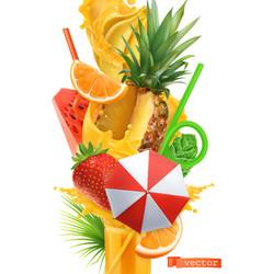 splash juice and sweet tropical fruits summer vector image
