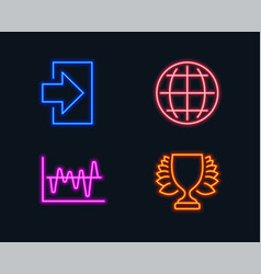 Stock analysis globe and login icons winner sign vector