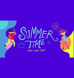 Summer holiday season banner flat cartoon kids vector