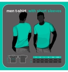 T-shirt men back and front vector