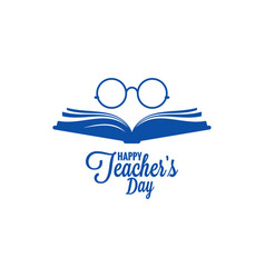 Teachers day logo glasses and book icon on white vector