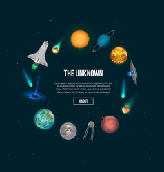 The unknown universe banner with cosmic elements vector