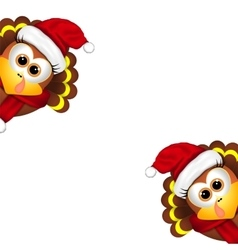 two funny turkeys in santa hat on a white vector image