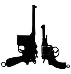 Two vintage handguns vector