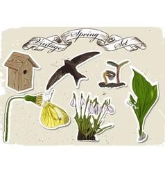 Vintage set of spring elements vector image