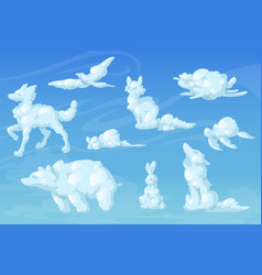 White clouds in shape animals in sky vector