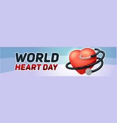 world heart day banner horizontal cartoon style vector image