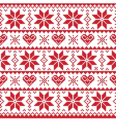 Christmas knitted pattern card - scandynavian vector image vector image