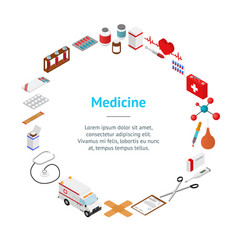 medical banner card circle isometric view vector image vector image